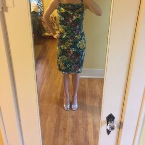 Form-Fitting Flower Print Dress