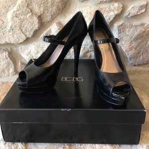 EUC peep toe Mary Jane platform heels