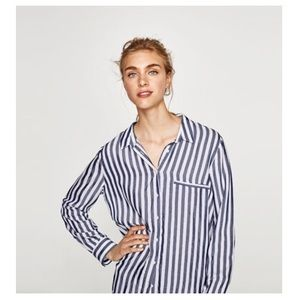Zara Navy and White Button-Down