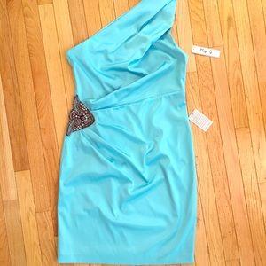 Eliza J - Tiffany blue one shoulder cocktail dress