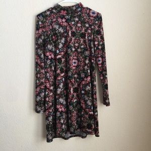 BCBG floral print swing dress with mock neck