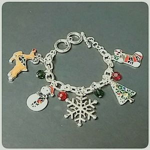 "Christmas Charm Bracelet Toggle Silver 7"" to 8"""
