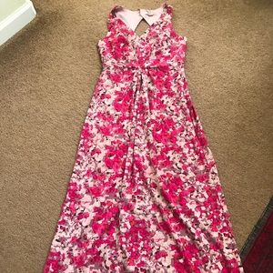Floral Maxi Dress Modest Forever 21 Hot pink red