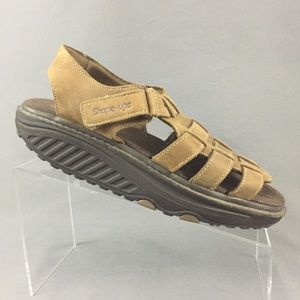 Skechers Shape Ups Sandals Women 8 Brown Leather