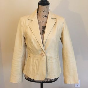 Leather Tan Cream Blazer (Sz 8)