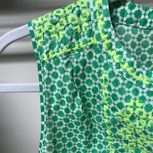 J. Crew green/white tank w. lime green embroidery