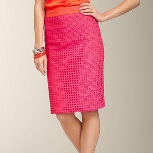 Talbots Square Eyelet Pink Pencil Skirt Sz 12 NWT