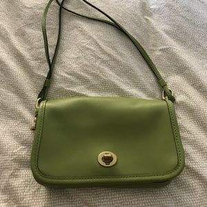 Coach Bag, green with gold detail, mint condition