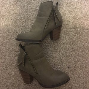 Army Green Booties with Gold Detailing