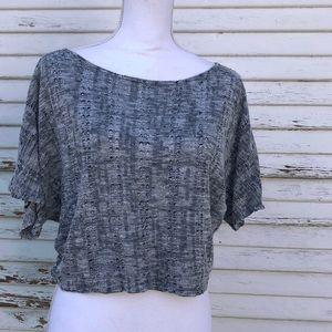 Marled grey lightweight knit crop top