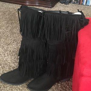 Qupid Black suede Fringe Boots.