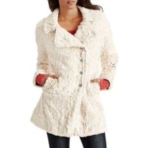 Free People faux fur embroidered swing coat Sz 8