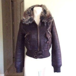 Women's Faux Shearling/Fur Brown Bomber Jacket S