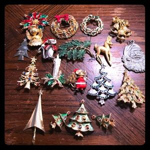 19 piece mostly signed Christmas jewelry lot