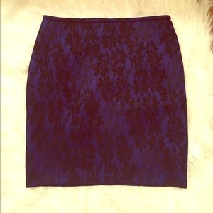 Forever 21 blue and black lace zip up skirt