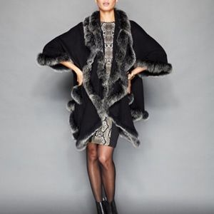 Fox Fur trimmed Cashmere cocoon coat with pockets.