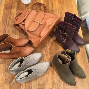Bootie Lot Size 9 and backpack