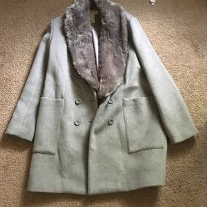 Forever 21 wool coat with fur collar!