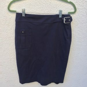 Ralph Lauren Navy Buckle Pencil Midi Skirt