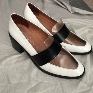 Jeffrey Campbell white, black and clear loafers
