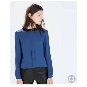 Zara blue top with Peter Pan black Collar XS