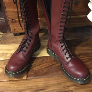 Vintage Dr Martens Cherry knee-high, lace-up boots