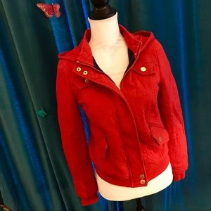 ALLIHOP Cherry Red Quilted Cotton Moto Jacket S
