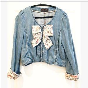 Zara denim jacket with floral bow