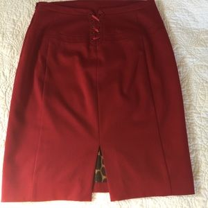 Sexy red pencil skirt w lace up back