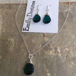 Teal quartz delicate drop necklace earrings set