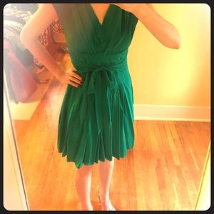 Green Satin Dress from Anthropologie
