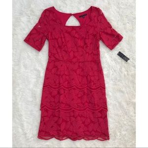 Tiana B. Red Lace Flower Dress
