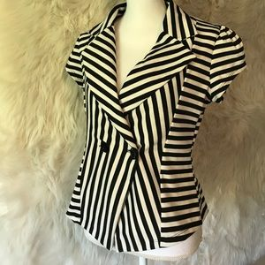 Black and white striped cap sleeve blazer
