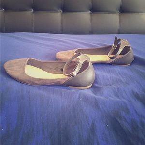 Gray Flats with Ankle Strap