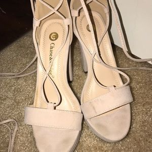 d667104a3b1433 chase   chloe Shoes - I Slay Nude Suede Lace-Up Platform Heels