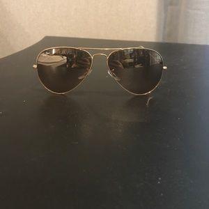 RAY BANS women's rose gold aviator sunglasses