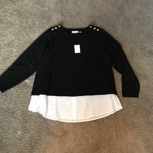 Calvin Klein black/white long sleeve blouse 1X nwt