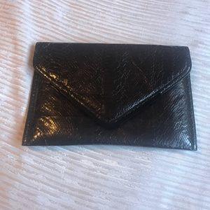 BCBG black envelope clutch