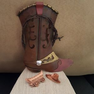 Vntg Copper Covered Wagon & Cowboy Hat