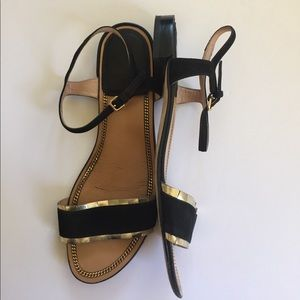 Stuart Weitzman Black Suede & Gold Sandals 9 M