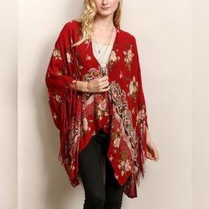 Tops - Red, fringe kimono
