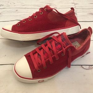 Ugg brand new red knit wool sneakers. Size 7.