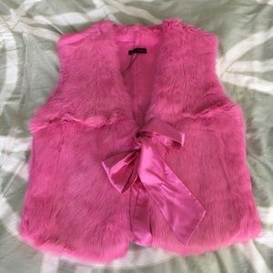 Jackets & Blazers - Hot pink rabbit fur vest