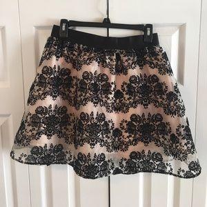 Sheer black and peach skirt
