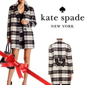 Kate Spade Woodland checkered bow mohair coat