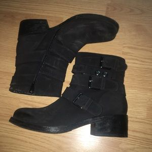 White mountain black booties
