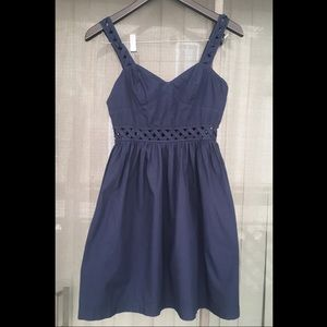 French Connection navy blue lattice dress