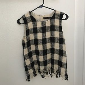 Zara XS checkered flow top.