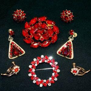 Vintage rhinestone jewelry lot-red holiday bundle