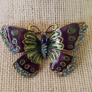 Vintage Silver Tone Enamel Butterfly